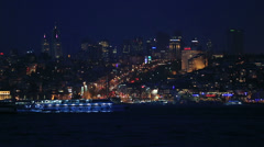 Famous city Istanbul skyline at blue hours Stock Footage