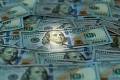 new design 100 dollar us bills or notes - stock photo
