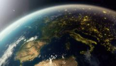 Europe from space, day to night Stock Footage