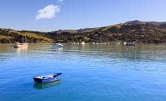 Empty blue rowing boat akaroa harbor Stock Photos