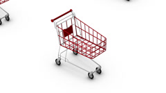 High angle up from single Shopping Cart revealing many - stock footage