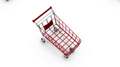 Boom down from single Shopping Cart revealing endless Shopping Carts - stock footage