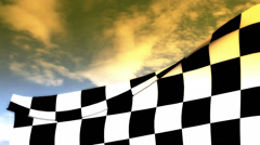 Checkered flag on sunset sky Stock Footage