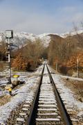 Kautta juna maisema lumi Kuvituskuvat