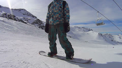 Playing snowboarder in Val Thorens Stock Footage