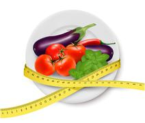 Diet meal. vegetables in a plate with measuring tape. concept of diet. vector Stock Illustration