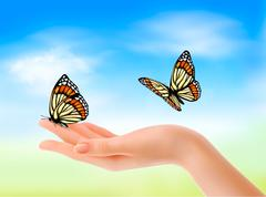 hand holding a butterflies against a blue sky. vector illustration. - stock illustration