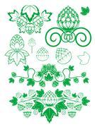 malt and hop leaves - stock illustration