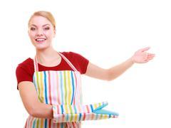 Kotiäiti keittiö esiliina tai pienyrittäjä yrittäjä puotipuksu Kuvituskuvat