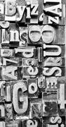 Metal type printing press typeset obsolete typography text letters Stock Photos