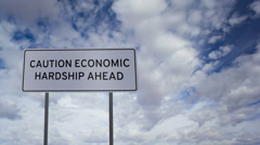 Sign Economic Hardship Clouds Timelapse Stock Footage