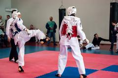 Samoobrona without arms - taekwondo is a korean martial art. Stock Photos