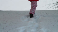 0806 Child Lost in Forest in the Snow Stock Footage