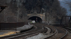 0810 Working on Train Tracks in Harpers Farry Stock Footage