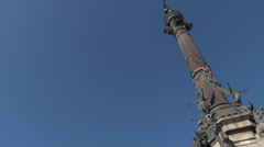 Barcelona - Catalonia - Spain - Columbus Monument - HD 1920 X 1080P Stock Footage