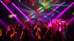 Sexy girls enjoying  in the rave party Stock Footage