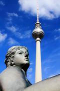 Berlin Fernsehturm & Neptune Fountain, Berlin - stock photo