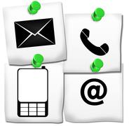 Contact icons on post it Stock Illustration
