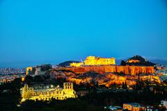 acropolis in the evening after sunset - stock photo