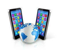 Stock Illustration of smartphones around world globe, global communication