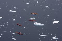 kayaking in antarctica - stock photo