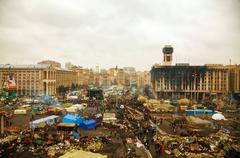 maidan (independence) square after the revolution - stock photo
