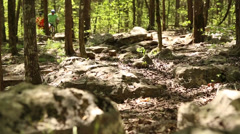 Riding mountian bikes thru woods Stock Footage
