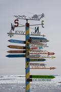 Sign post, antarctica Stock Photos