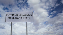 Stock Video Footage of Sign Legalized Marijuana State Clouds Timelapse