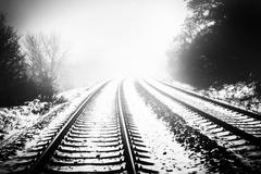 rails and snow - stock photo