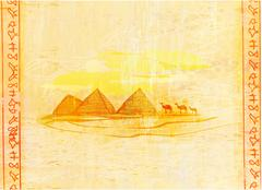 Stock Illustration of old paper with pyramids giza