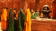 Group of Indian dancers at temple Stock Footage
