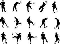 Soccer silhouettes Stock Illustration