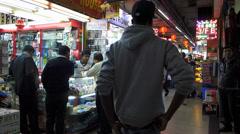 Hong Kong downtown Chungking Mansion shops n trading China Asia Stock Footage
