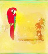 Stock Illustration of colourful parrot bird sitting on the perch