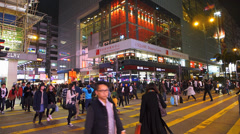 Time Lapse  Hong Kong downtown Nathan Road commuters zebra crossing crowds Stock Footage