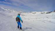 Stock Video Footage of Skiing and snowboarding in Val Thorens