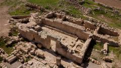 Archaeological site Remains of an old synagogue  Aerial shot Stock Footage