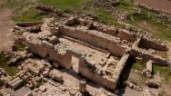 Stock Video Footage of Archaeological site Remains of an old synagogue  Aerial shot