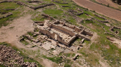 Archaeological site Remains of an old synagogue Aerial top shot Stock Footage