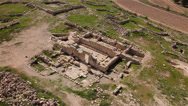 Stock Video Footage of Archaeological site Remains of an old synagogue Aerial top shot
