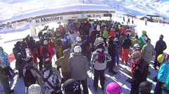 Waiting in line for ski lift in Val Thorens Stock Footage