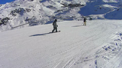 Turning snowboard in Val Thorens Stock Footage