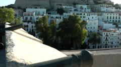 Europe Spain Balearic Ibiza Eivissa city 182 city wall with cannons - stock footage