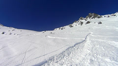 Ski crash in deep snow Stock Footage