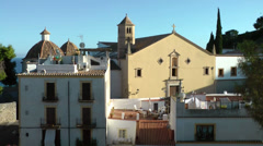 Europe Spain Balearic Ibiza Eivissa city 186 old cathedral, ringing church bells Stock Footage
