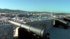 Europe Spain Balearic Ibiza Eivissa city 185 cannons from the back of city wall Stock Footage