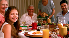 Family having christmas dinner at home Stock Footage