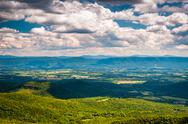 Stock Photo of view of the shenandoah valley and appalachian mountains from the mill mountai