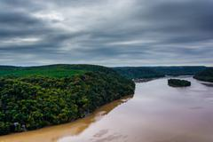 view of the susquehanna river from the pinnacle, in lancaster county, pennsyl - stock photo